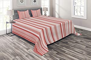 Ambesonne Coral Coverlet, Vertically Striped Retro Pattern in Soft Colors Pinkish Old Fashioned, 3 Piece Decorative Quilted Bedspread Set with 2 Pillow Shams, Queen Size, Pink White