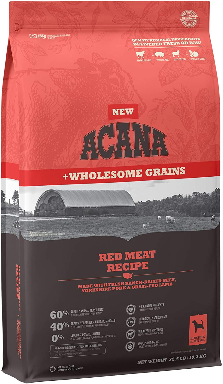 ACANA Wholesome Grains Dry Dog Food, Red Meat and Grains, Beef, Pork, and Lamb, Gluten Free, 22.5lb