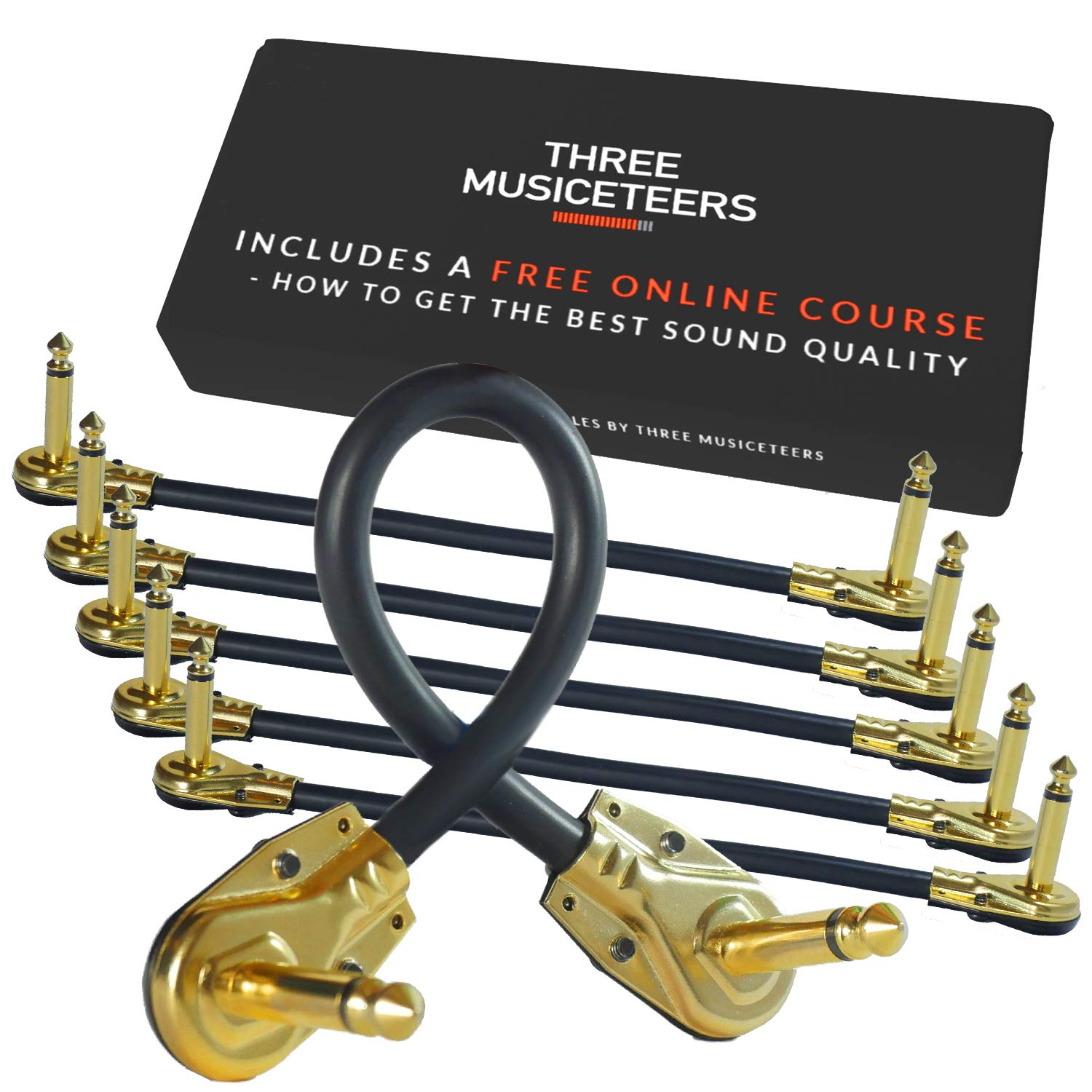 Guitar Patch Cables 6 Inch - Pedal Cable Kit 6 Pack - Best for Instrument Effects and Pedal Boards - Gold Plated Pedal Patch Cable Set - By The Three Musiceteers by The Three Musiceteers