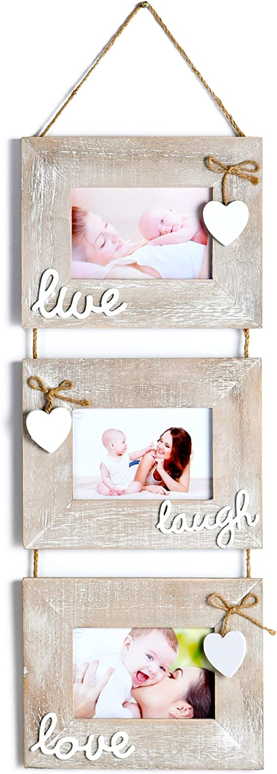 Yaetm Live Laugh Love Collage Hanging Picture Frame 4x6 Solid Wood 3 Photo Frames Set Wall Mount Verticval Display Rustic Grey Amazon Com