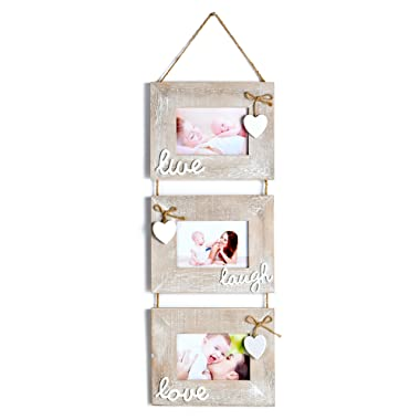 Yaetm 3-Frame Set On Hanging Rope, Solid Wood Photo Frame with 6 x 4-Inch for Each Frame Hold,Rustic Grey