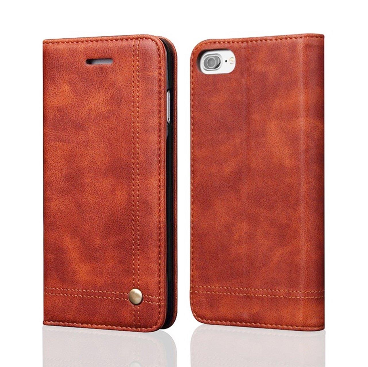 ROEERE iPhone 7 ケース 手帳型 PUレザー カード収納 スタンド機能 マグネット式 アイフォン7 用 カバー (ライトブラウン)の画像