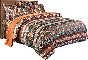 Erosebridal Bohemia Duvet Cover Queen Ethnic Vintage Boho Exotic Bedding Set 3Pcs Colorful Chic Floral Comforter Cover Retro Printing Lightweight Microfiber Bedding Quilt Cover Boho Bedroom Decor