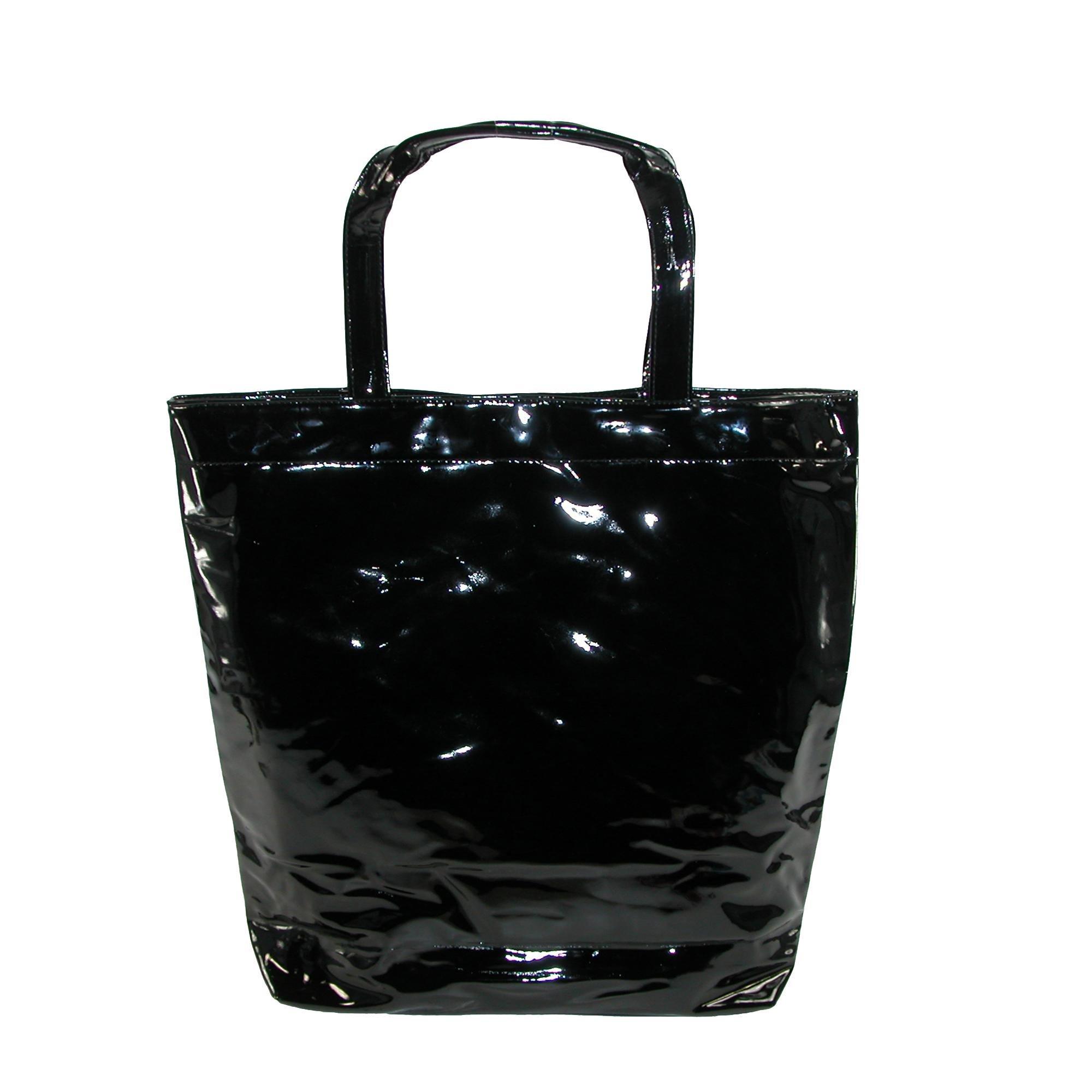 CTM Women's Patent Tote Bag, Black