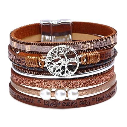 dbd32a6190cd Abrigo de moda Boho Multilayer cuero brazalete ancho pulseras hechas ...