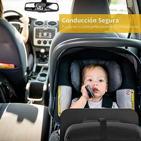 Espejo Retrovisor Coche Bebé para Ver su Bebé en Asiento Trasero, Akapola Versión Actualizada 360° Rotación Gran Tamaño sin Distorción para Silla Trasera de Bebé/Asientos de Niños