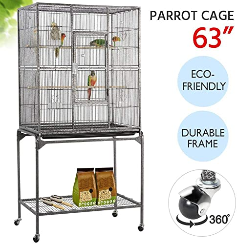 YAHEETECH 63-Inch Wrought Iron Rolling Large Bird Cage for African Grey Small Quaker Amazon Parrots Cockatiels Sun Parakeet Green Cheek Conure Lovebird Budgie Finch Canary Bird Flight Cage with Stand