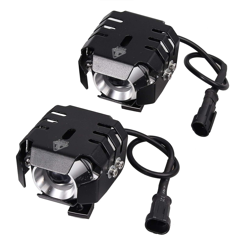 PROZOR 2pcs Moto Phare 20W 3200LM Moto LED 3 Modes Phare Antibrouillard Lumi/ères Ampoule et Avant Commutateur pour 12-80V V/éhicules pour Motos V/élos Voitures Camions Bateau
