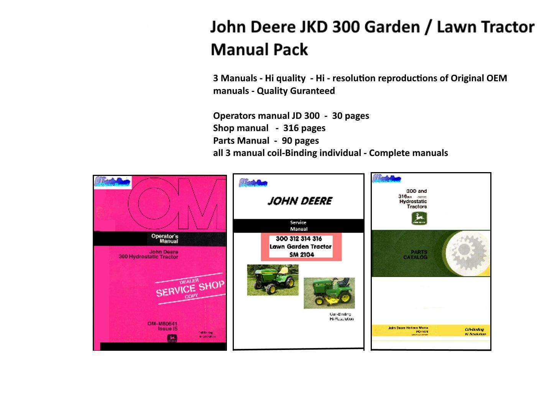 John Deere JD 300 Lawn & Garden Tractor Manual pack