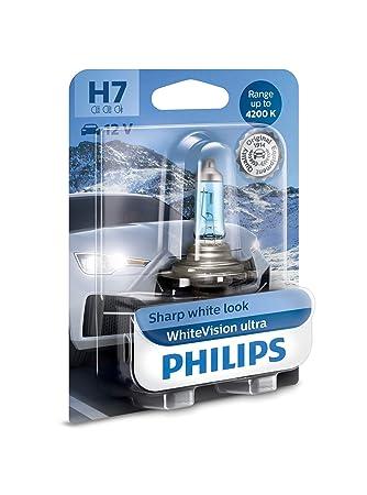 Philips 12972WVUB1 WhiteVision Ultra Efecto Xenon H7 Bombilla para Faros Delanteros, 4.200K: Amazon.es: Coche y moto