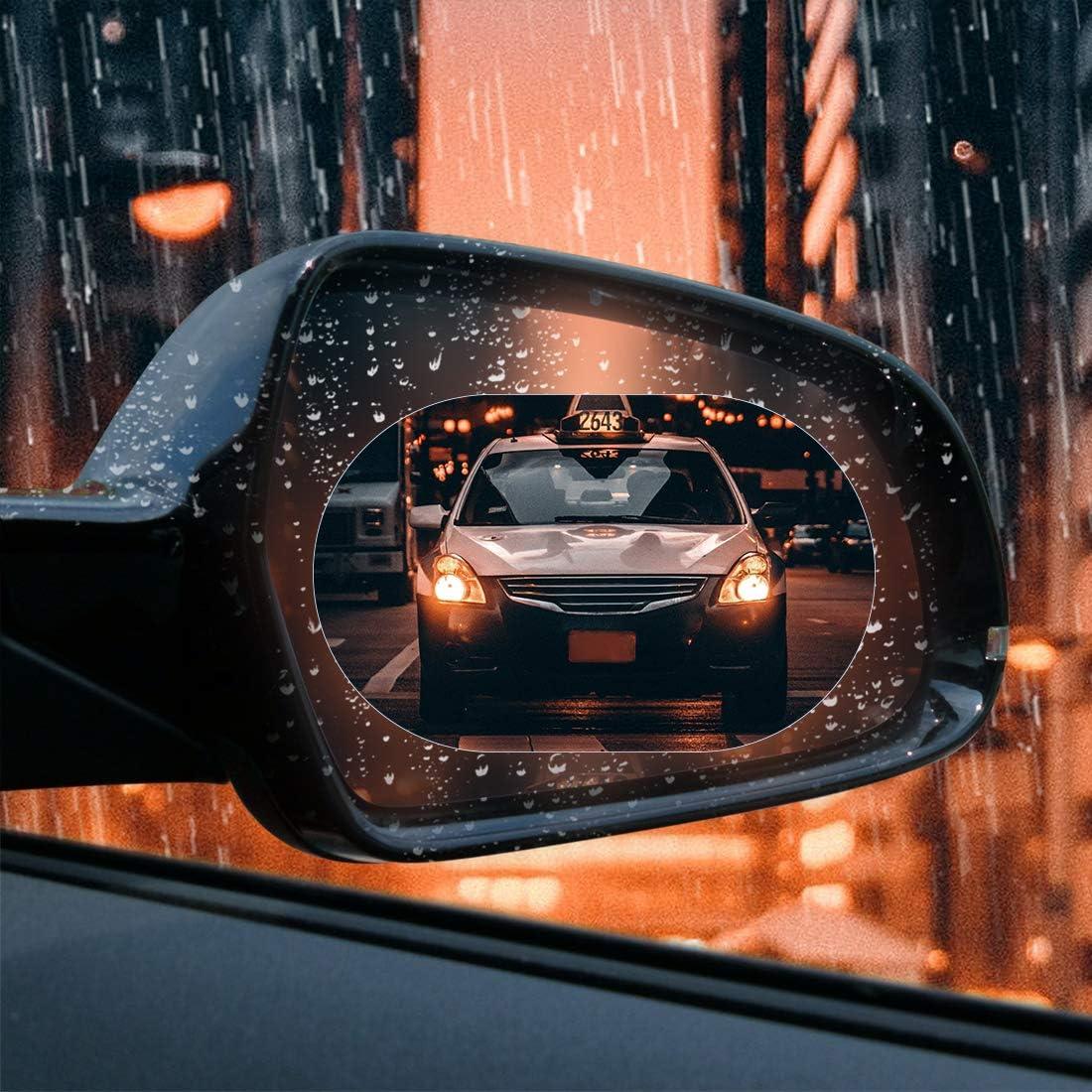 X AUTOHAUX 2pcs 130 x 95mm Oval Car Rearview Mirror Anti Rain Anti-Glare Film Clear Protective Sticker
