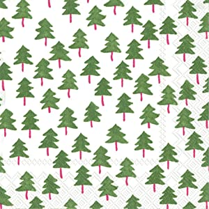 Ideal Home Range 20 Count Cocktail Napkins, Twee Trees White Green