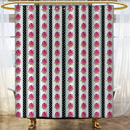Anhounine Retro Fabric Shower Curtains Vertical Old Fashioned Borders With Pink Roses On Polka Dots Background