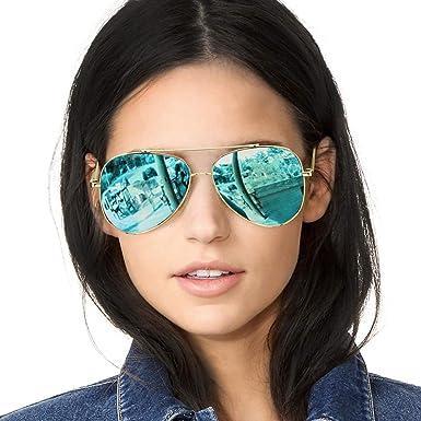 SODQW Gafas de Sol Polarizadas Mujer Espejo Marca Clásico Metal Marco 100% UVA/UVB Protección