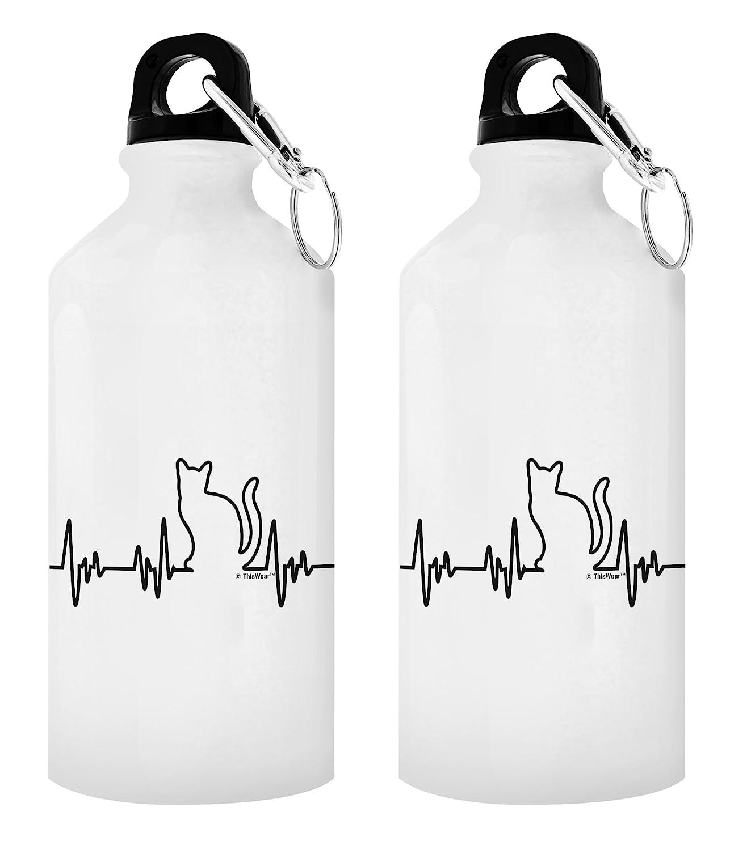 ThisWear Katze Geschenke für Frauen Cat Lover 's Herzschlag Geschenk Aluminium Wasser Flasche mit Cap & Sport Top