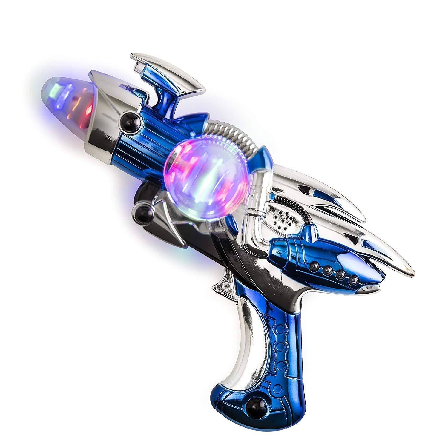 Party Kicko Light-Up Noise Blaster for Novelty and Gag Toys Party Favor Party Bag Stuffer Ideas 11.5 Inches Long with Cool and Fun Super Spinning Space Style Assorted Colors