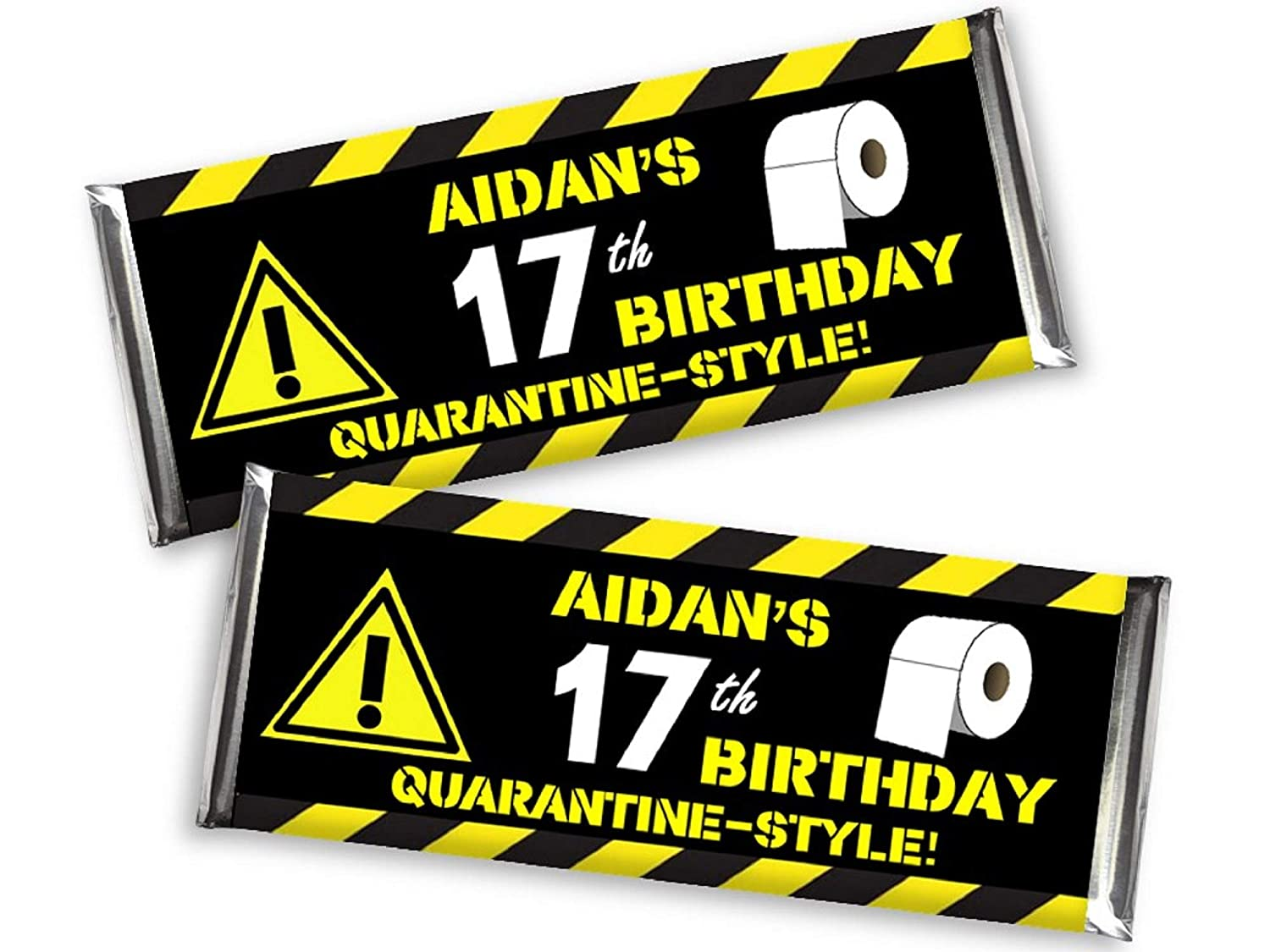 Amazon Com Quarantine Birthday Party Diy Candy Bar Wrappers Candy Bar Favors Drive By Party Favors Social Distancing 40th 50th 60th Birthday Set Of 12 Chocolate Not Included Handmade