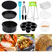 11pcs 7 In Air Fryer Accessories for Gowise Phillips and Cozyna,Universal Air Fryer Accessories Kit Include Non Stick Cake Pan,Silicone Mat,Pizza Tray,Fit All 3.2QT-5.3QT-5.8QT-Up (7In)