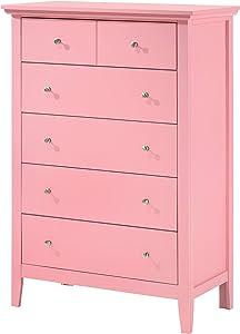 "Glory Furniture Hammond , Pink Chest, 48"" H X 32"" W X 18"" D"