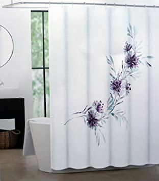 Tahari Fabric Shower Curtain Purple Blue Floral Pattern On White Martina