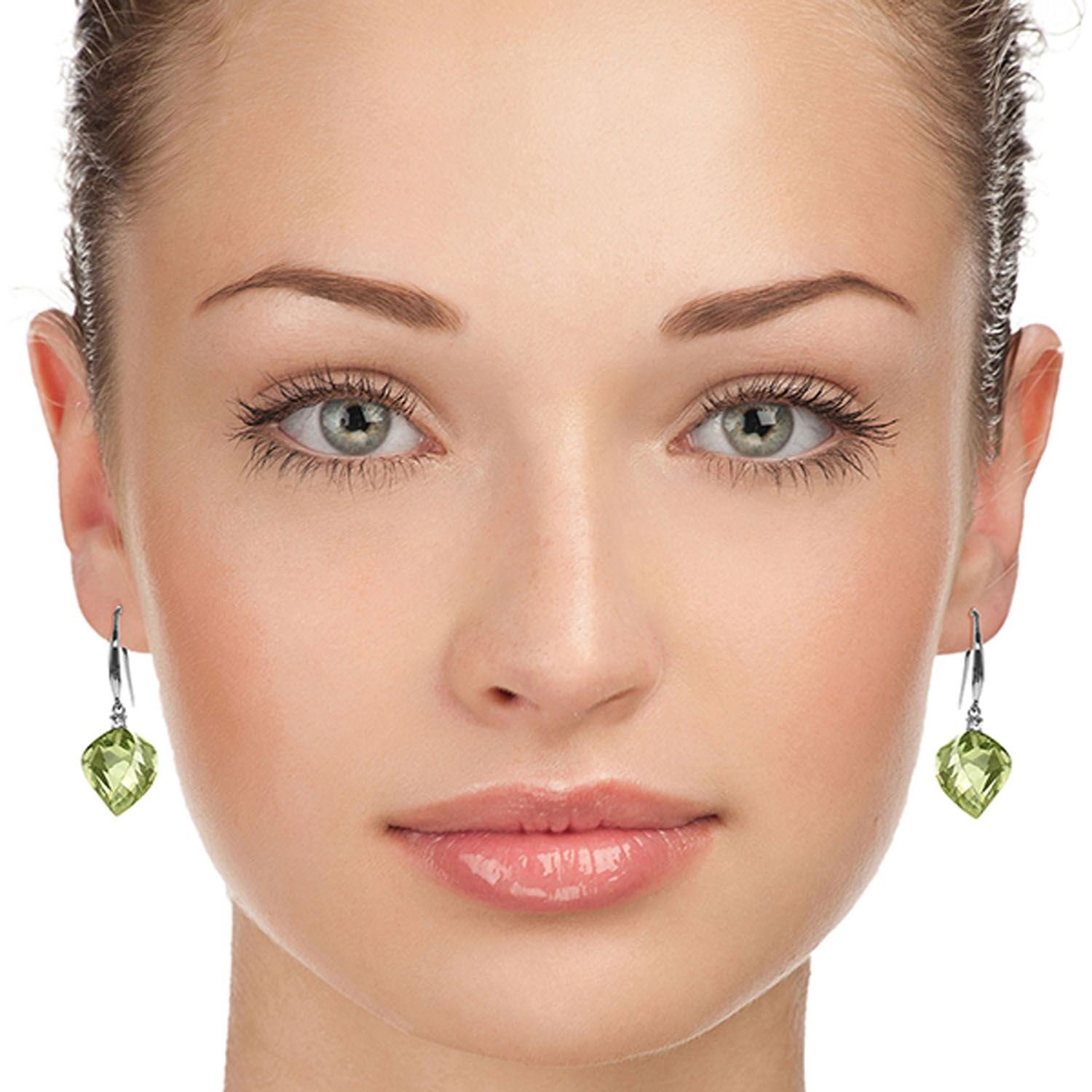 ALARRI 26.1 CTW 14K Solid White Gold Found My Love Green Amethyst Diamond Earrings by ALARRI (Image #2)
