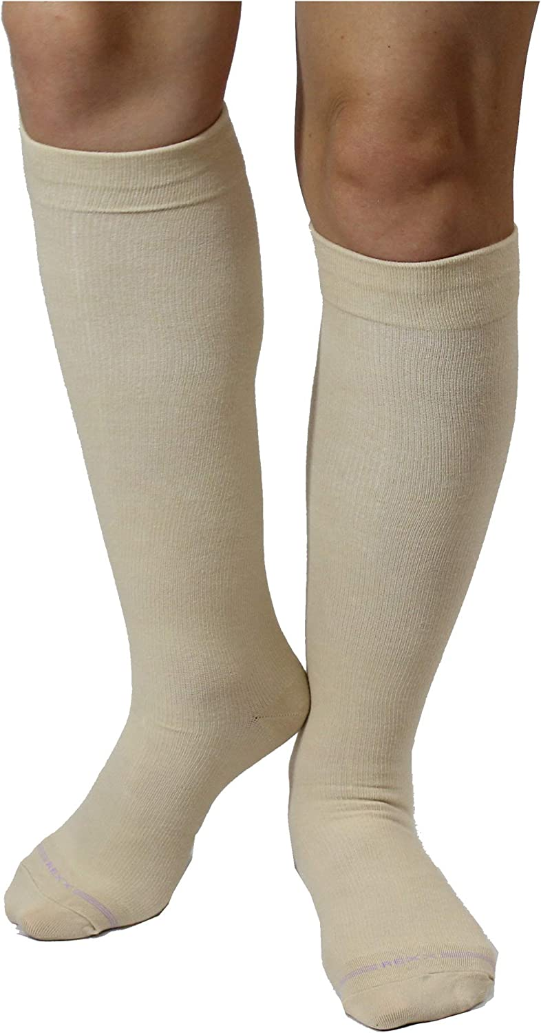 3 Pairs Womens Knee-high Therapeutic Graduated Anti-Fatigue 8-15mmHg Combed Cotton Compression Socks