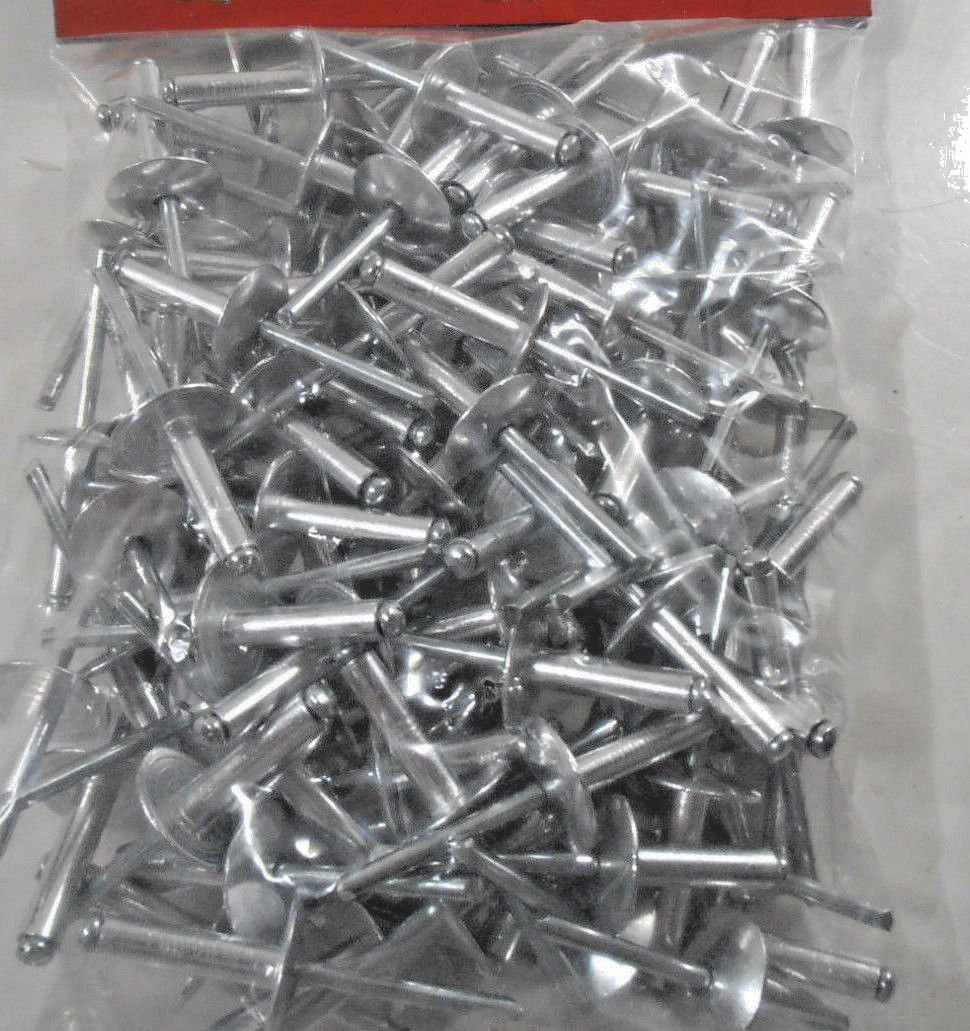 RIVETS LARGE FLANGE 100 PC. 3/16 X 3/4'' ALUMINUM HEAD STEEL MANDREL RIVET