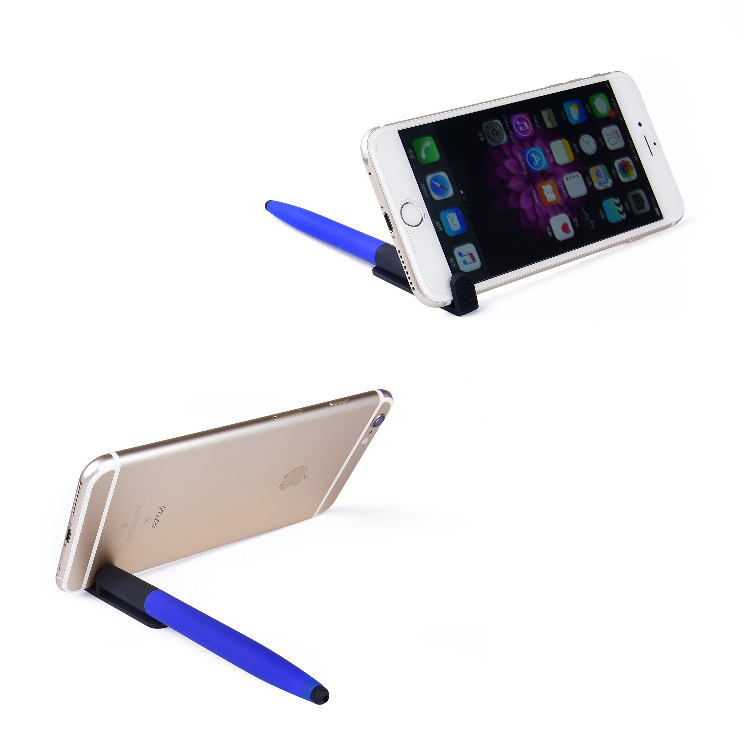 Alfinio S4 - Pocket i-Phone, iPad Video Stand, Stylus, Pen & Screen Cleaner [Universal 2pk]-Watch movies, recipes, cartoon in-flight restaurant kitchen College, FaceTime Facebook Live during Travel
