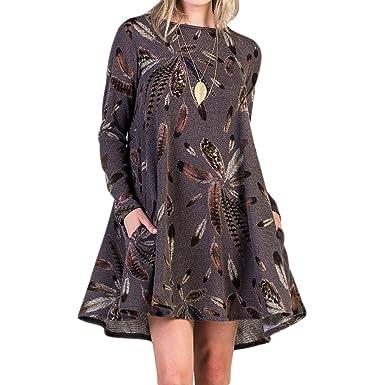 d4e22f59ae9 Juleya Femmes Élégant Robes Courtes - Femmes Décontracté Habillé À Manches  Longues Pull Robe Plume Motif