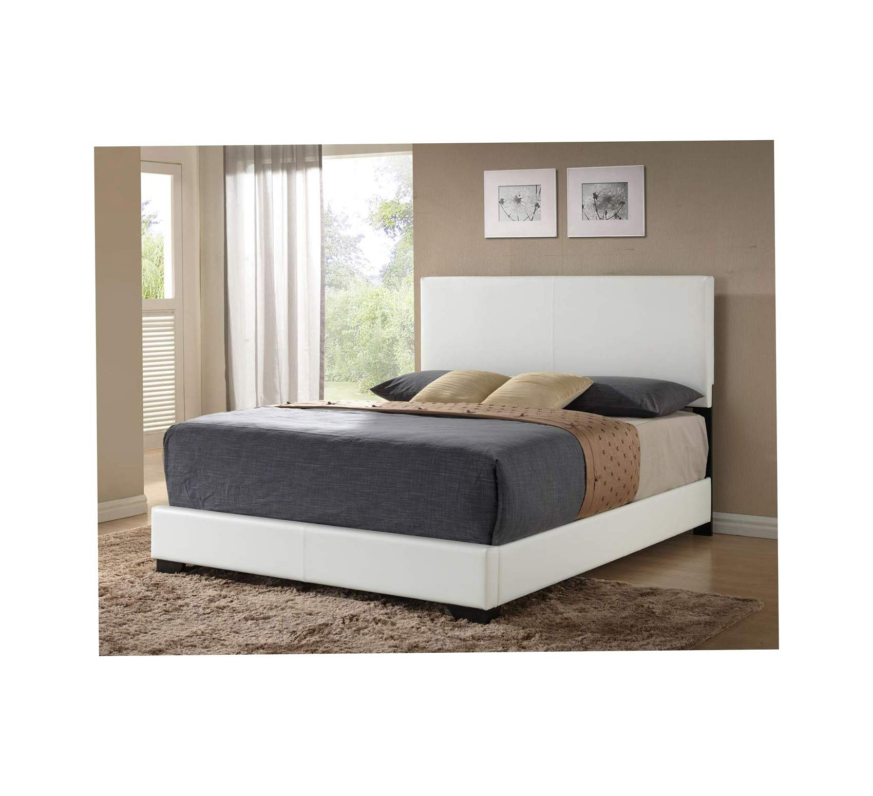 Wood & Style Bed with Footboard & Rail (Set of 2), Full, White Comfy Living Home Décor Furniture Heavy Duty by Wood & Style