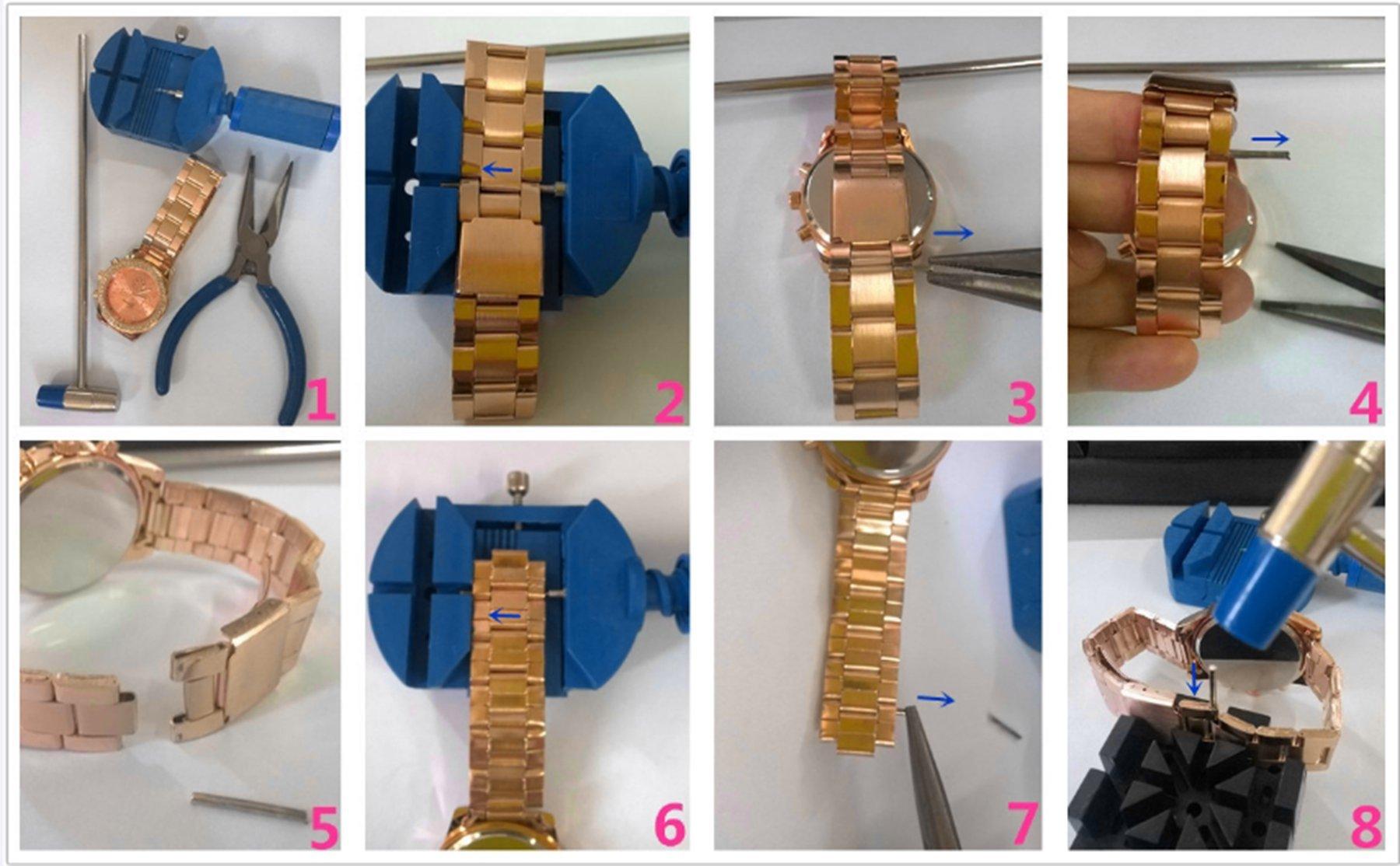JSDDE Luxus Strass Femmes Montre-bracelet Acier Inoxydable Ajustable Faux Chronographe Quartz Analog Montre (Doré)