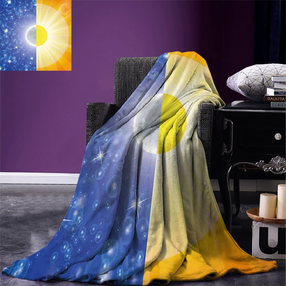 smallbeefly Space Custom Design Cozy Flannel Blanket Split Design with Stars in the Sky and Sun Beams Solar Balance Nature Image Print Lightweight Blanket Extra Big Blue Yellow