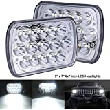 BAOLICY H6054 LED Headlights 5x7 7x6 Headlamp Hi/Low Sealed Beam H4 9003 Plug 6054 H5054 Compatible with Chevy S10 Blazer Express Van/Jeep Wrangler YJ XJ Cherokee Truck Ford Van