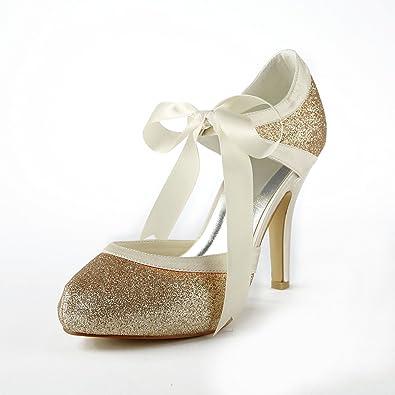 4187413ad665ac JIA JIA Wedding 37030 Hochzeitsschuhe Brautschuhe Damen Pumps Gold ...