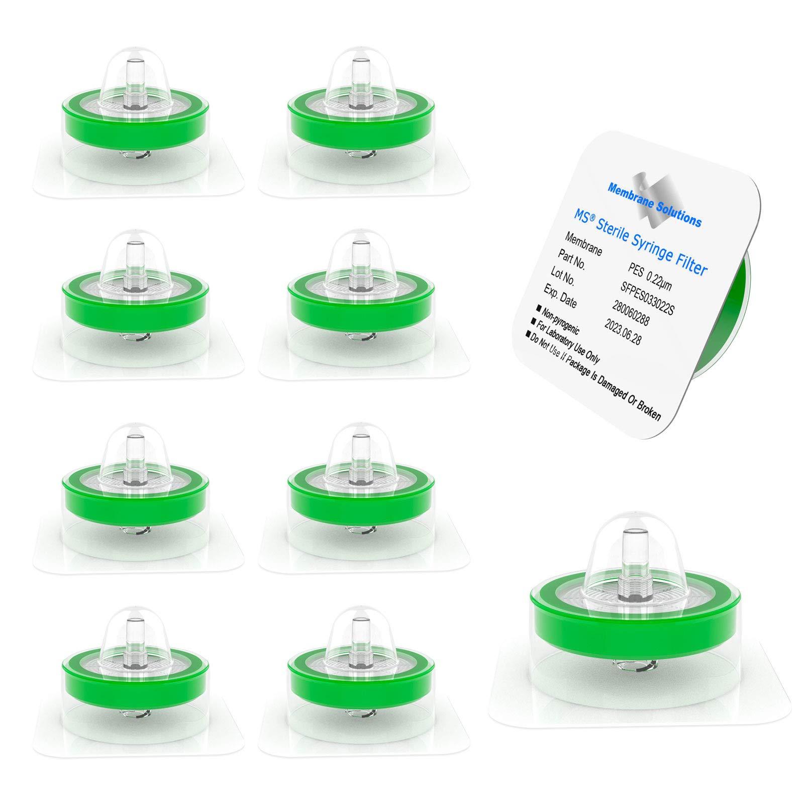 10 Pack Syringe Filter Sterile PES Hydrophilic Filtration 0.22um Pore Size, 33mm Membrane Diameter Sterile PES Membrane Individually Packed by Membrane Solutions