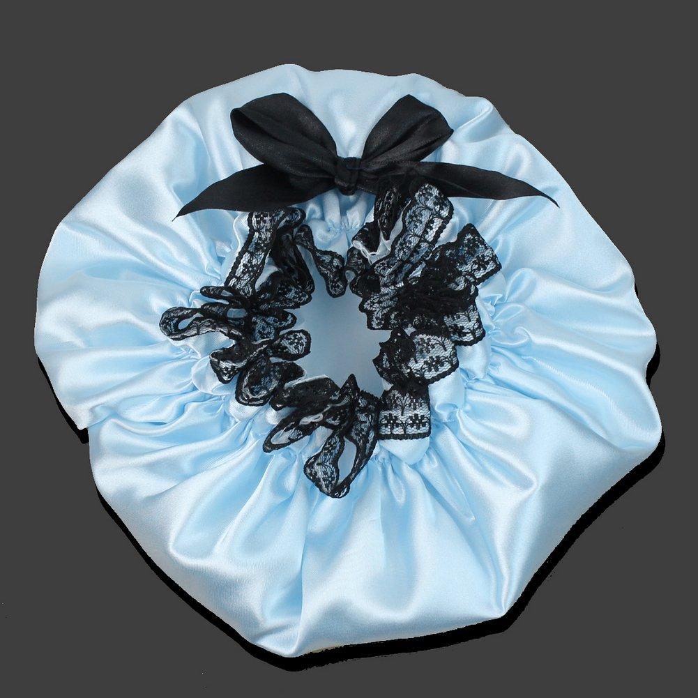 Amazon.com: Ribbon Waterproof Elastic Band Lace Bow Hat Hair Bath ...