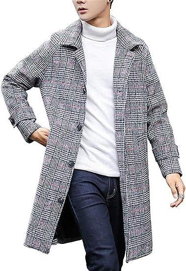ChengZhong Manteau en Laine à Boutonnage Simple pour Homme