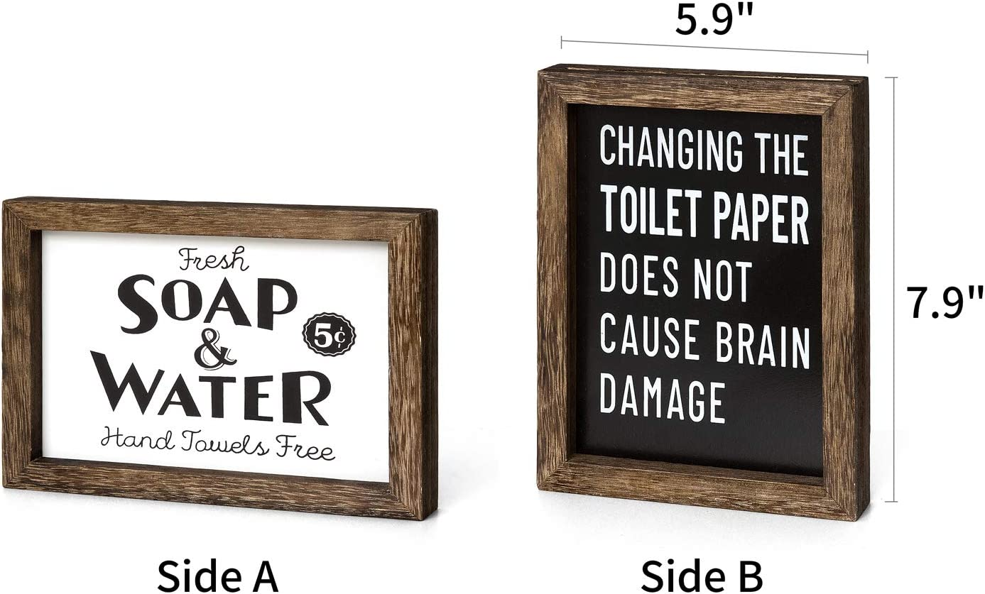 Toilet Paper Sign,Home Art Framed for Vintage Bath Laundry Room Dahey 1 Pack Farmhouse Bathroom Wall Decor 2 Sides Funny Wood Sign with Saying