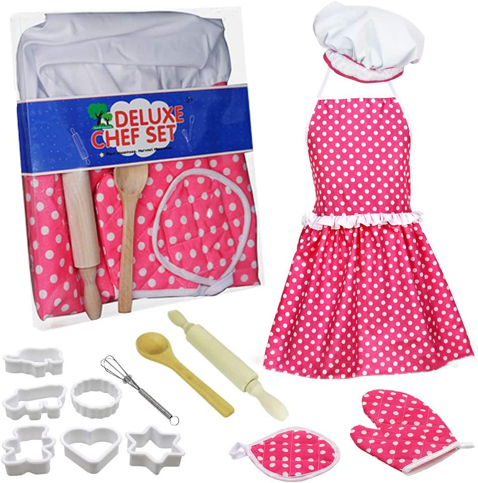 Tiaoyeer Kids Cooking and Baking Set - 13 Pcs Kids Chef Dress Up Role Play Toys, Includes Apron, Chef Hat, Oven Mitt, Wooden Spoon, Cookie Cutters, Silicone Cupcake Moulds for Little Girls Gift (Pink)