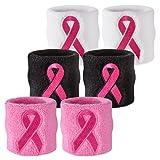 Suddora Ribbon Sweat Wristband - Breast Cancer Awareness Sport Athletic Sweatband (Pair)