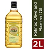 Saffola Aura Refined Olive and Flaxseed Oil, 2 L