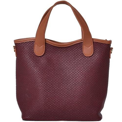 0c556f283d89 Amazon   トートバッグ メンズ レディース ショルダーバッグ バッグインバッグ ポーチ カジュアル 2WAY バッグ 鞄 赤 ワイン    ノーブランド品   ショルダーバッグ