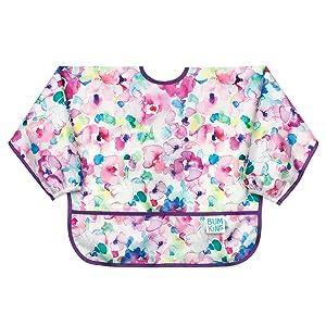 BumkinsSleeved Bib / Baby Bib / Toddler Bib / Smock, Waterproof, Washable, Stain and Odor Resistant, 6-24 Months- Watercolor
