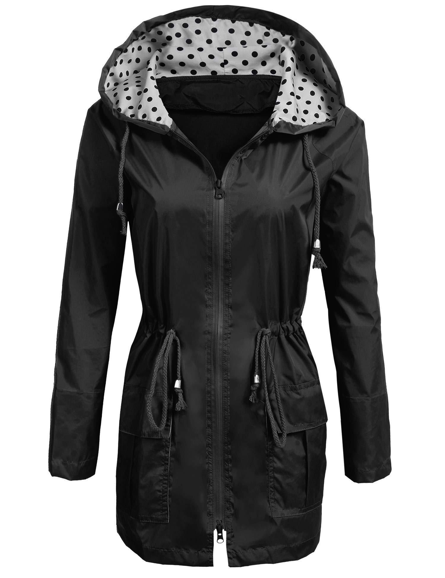 2cf3a6b77 Bemobeauty Lightweight Waterproof Raincoat for Women Windbreaker Packable  Outdoor Hooded Polka Dot Rain Jacket (S-XXL)