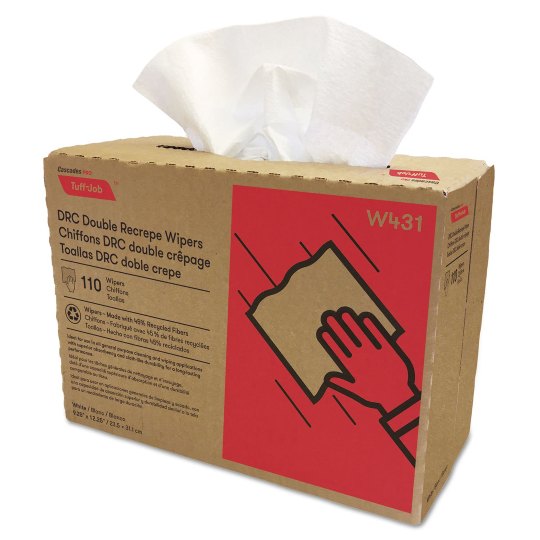 Amazon.com: Cascades Double Recrepe Wipers, 9 1/4 x 12 1/2, White, 110/Box, 12 Box/Carton: Kitchen & Dining