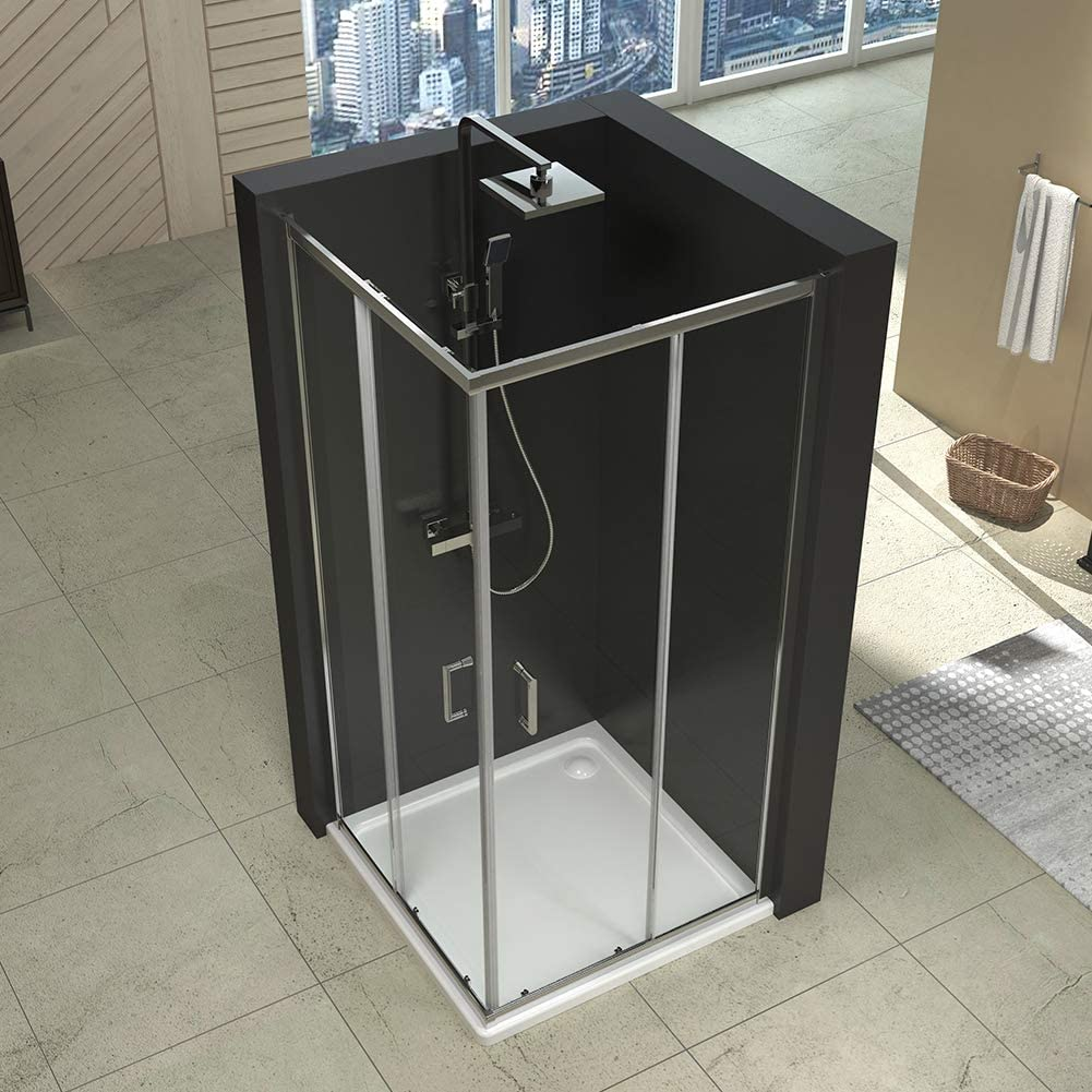 düravak Mampara de ducha puerta doble esquina. 80 x 80 x 185 cm ...