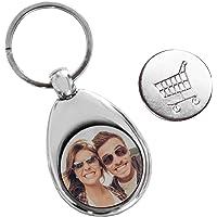 Personello® Schlüsselanhänger mit Foto und Einkaufschip (personalisiert mit Bild), Fotogeschenk, Metall Anhänger für Schlüsselbund und Tasche, silber