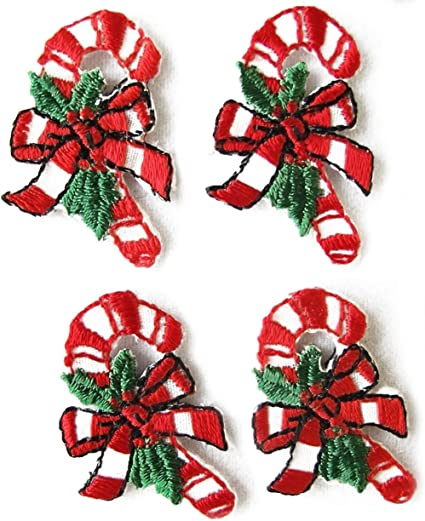 CHRISTMAS-CANDY CANE IRON ON PATCH APPLIQUE