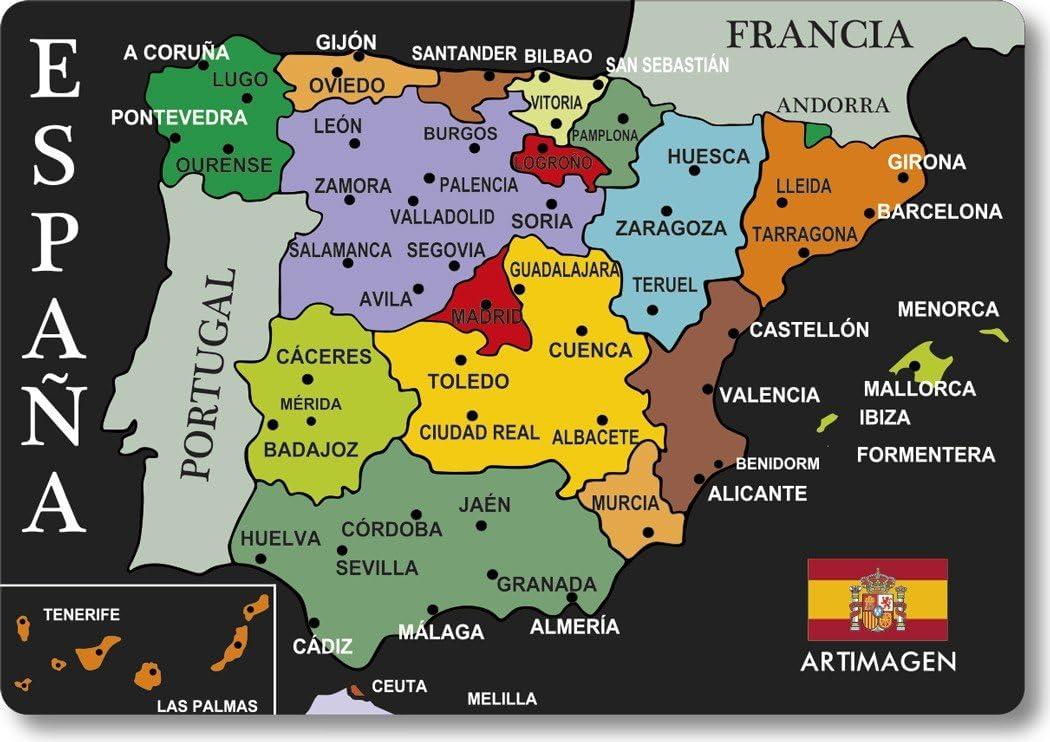 Artimagen Imán Mapa Ciudades España Negro 80x55 mm.: Amazon.es: Hogar