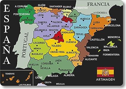 Carte Espagne Noir.Aimant Carte Villes Espagne Noir Amazon Fr Cuisine Maison